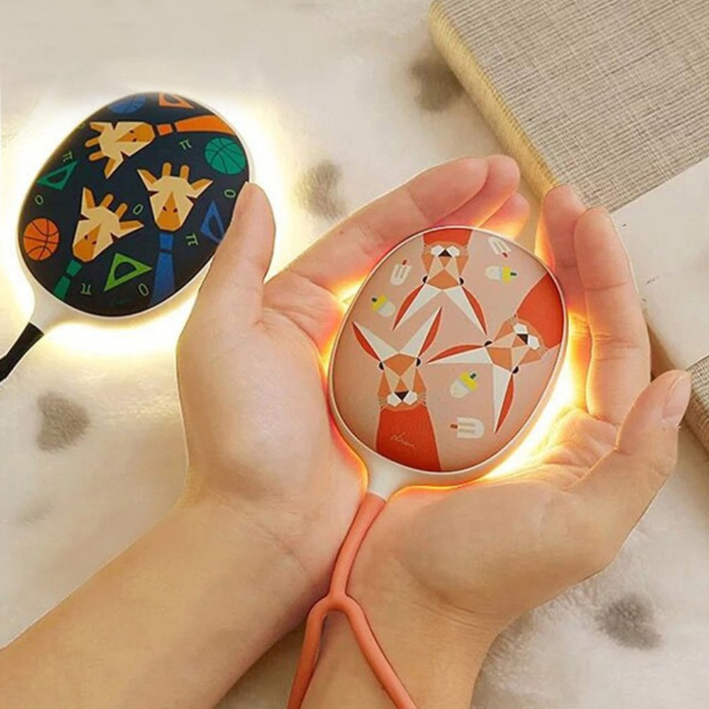 2 In 1 Portable Hand Warmer With LED Lightening Mini USB Rechargeable Outdoor Party Hand Heater Winter Warming Device