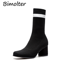 Bimolter New Women Strech Fabric Boots Street Outdoor Girls 6cm High Heels Mid-Claf Female Fashion Shoes PAEB006
