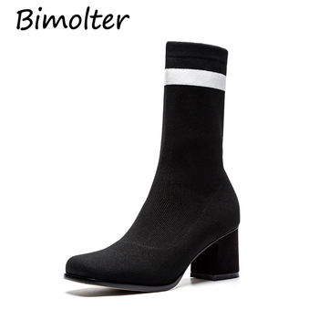 Bimolter New Women Strech Fabric Boots Street Outdoor Girl's 6cm High Heels Boots Mid-Claf Boots Female Fashion Shoes PAEB006