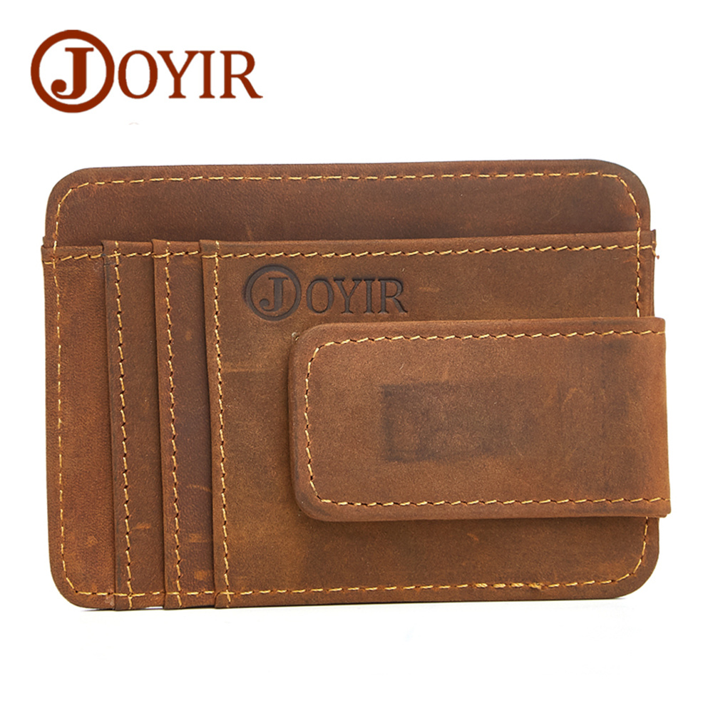 JOYIR Brand Men Cow Leather Money Clip Retro Hasp Genuine Leather Billfold Clamp For Money With