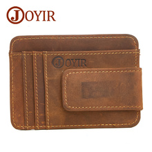 JOYIR Brand Men Cow Leather Money Clip Retro Hasp Genuine Leather Billfold Clamp For Money With Card Hold Luxury Male Purse