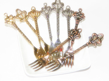 Kitchen dining&bar 6pc/lot Fashion classical vintage fruit small fruit sign dessert tableware cake fork gold silver