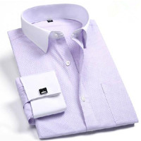 Men French Cufflinks Dress Shirts 2017 New Men S Shirt Long Sleeve Casual Male Brand Fitted
