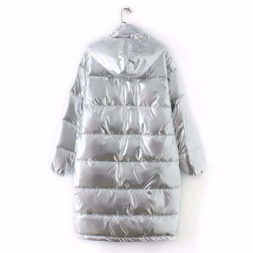 Coton Manches Coton Silver Longues Occasionnel Bas Veste Argent Épais rembourré À Vers Capuchon Mode D'hiver L1774 Le Manteau Brillant Chaud Outwear 8wNnX0OPk