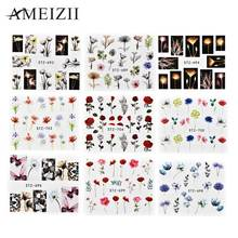 цена на Ameizii Pop Nail Stickers Water Decal Nail Art Transfer Stickers 3d Flowers Tattoo Design Slider Manicure Decorations 24 Pcs/set