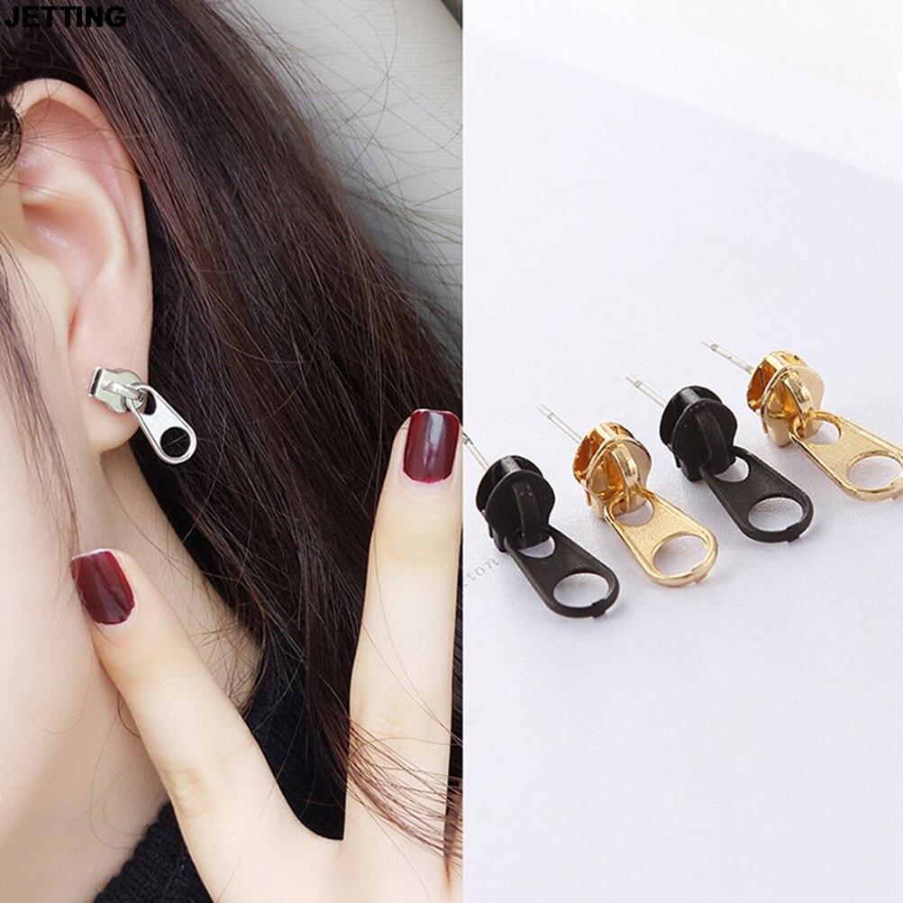 JETTING 1Pair Women Earrings Lady Girl Men Vintage Punk Metal Zipper Studs Earrings Fashion Jewelry