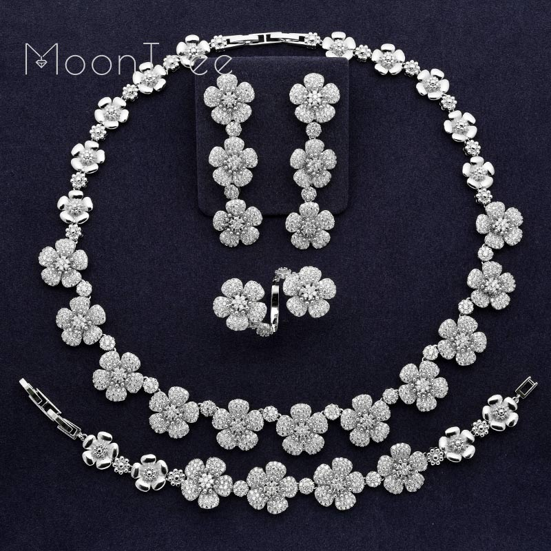 MoonTree Luxury Trendy Flower Full Mirco Paved Cubic Zirconia Women Wedding Bridal Necklace Bracelet Earring Ring