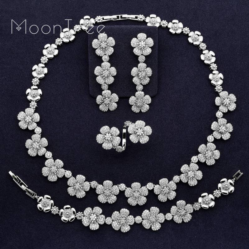 MoonTree luksusowy modny kwiat pełna Mirco betonowa cyrkonia kobiety ślub dla nowożeńców naszyjnik bransoletka kolczyk pierścień zestaw w Zestawy biżuterii od Biżuteria i akcesoria na  Grupa 1