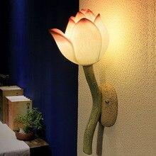 Chinese creative aisle corridor stair hallway lamp bedroom bedside porch wall light art Lotus Restaurant hotel lamp bra sconce