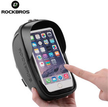ROCKBROS Bicycle Front Bag MTB Road Bike Top Tube Frame Handlebar Touch Screen 6 inch Cycling Pouch Reflective