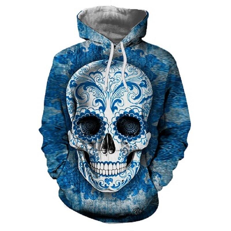 2018 New 3D Skull Hoodies Men/Women Hooded Sweatshirts Spring Fashion Funny Sportswear Pullover Hip Hop Streetwear S-6XL