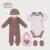 Elección de la madre Del Bebé 5 unids Conjunto Bebé largo de la manga y de la corto-manga de Los Mamelucos, babero, gorrita tejida, y Botines