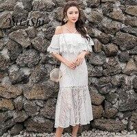 Ruffles Summer Long Beach Dress Women Red White Halter Slash Neck Elegant Office Dress for Women Mermaid Lace Dresses Vestidos