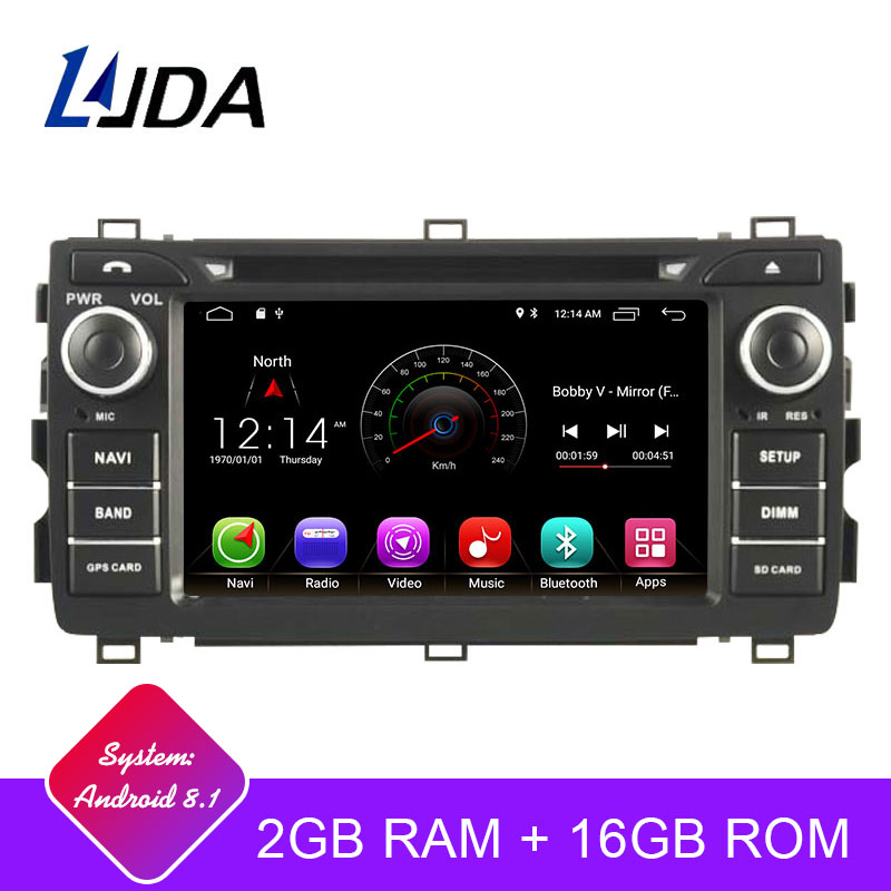 LJDA 2 Din Android 9.1 Car DVD Player For Toyota AURIS 2013 2014 2015 Wifi GPS Navigation Radio 2G RAM Stereo Audio Multimedia