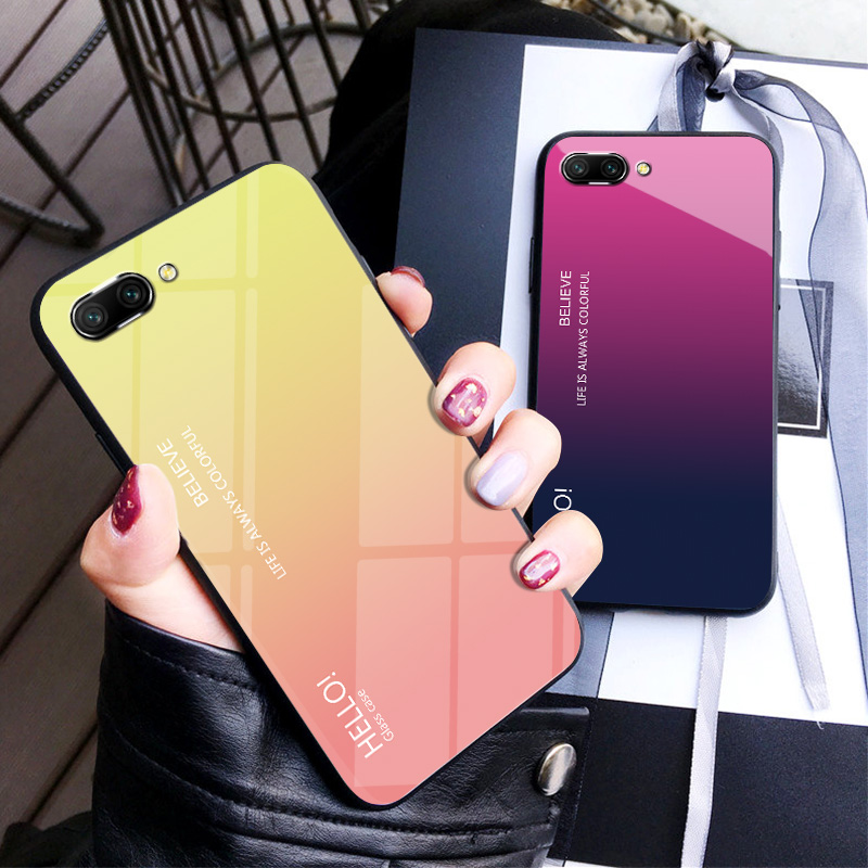 For OPPO A3S Case Luxury Hard Tempered Glass Gradient Protect Back Cover case For oppo a3s full cover phone shell housing