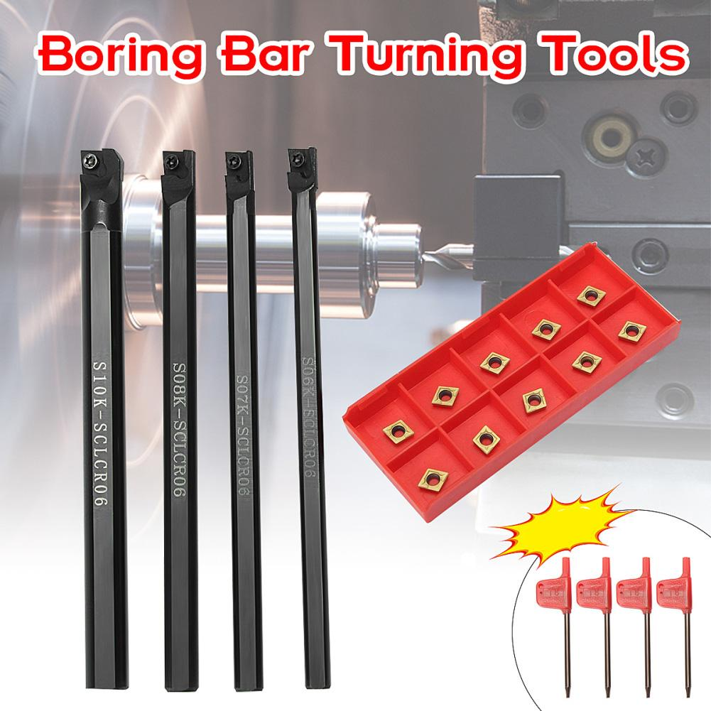 S08K-SCLCR06 Lathe Boring Bar Turning Holder With 10pcs CCMT060204-HM Inserts