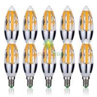 10PCS E14 Edison COB LED Candle Bulb,C35 Vintage Spiral Lamp,Super Bright,Flame Style Cob LED Lamp,AC 85 265V