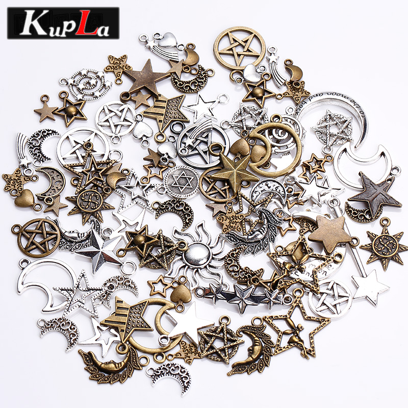 Pendant Charms Jewelry-Making Pentagram Mixed-Star Handmade Metal Retro Fashion Diy  title=