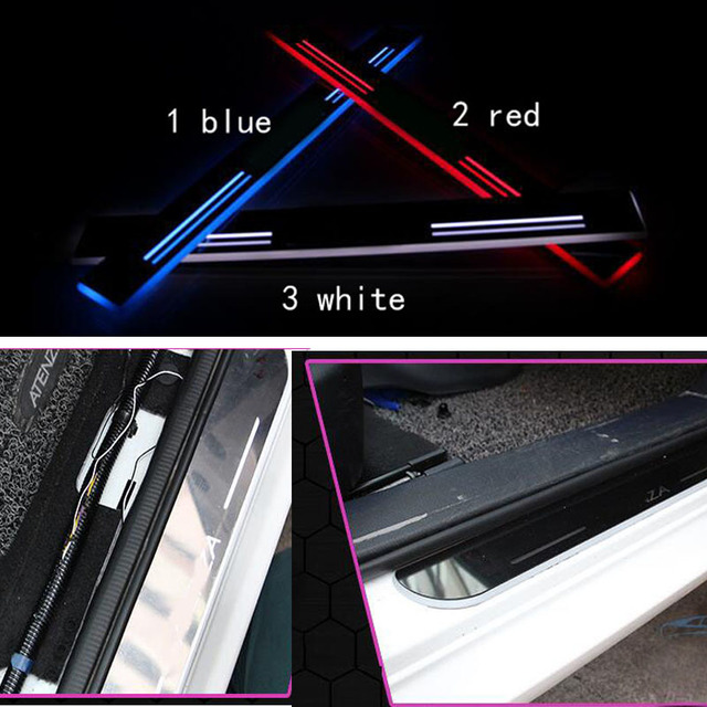 For Hyundai  I30 car light LED Moving front door scuff sticker Sill Plate pedal protector styling