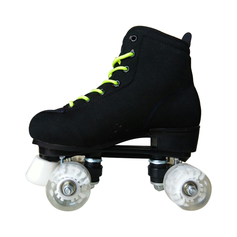 Adult Children Black Two Line Roller Skates Double Row 4 Wheel Skating Shoes Good Quality as SEBA PU leather Gifts For Kids IB32