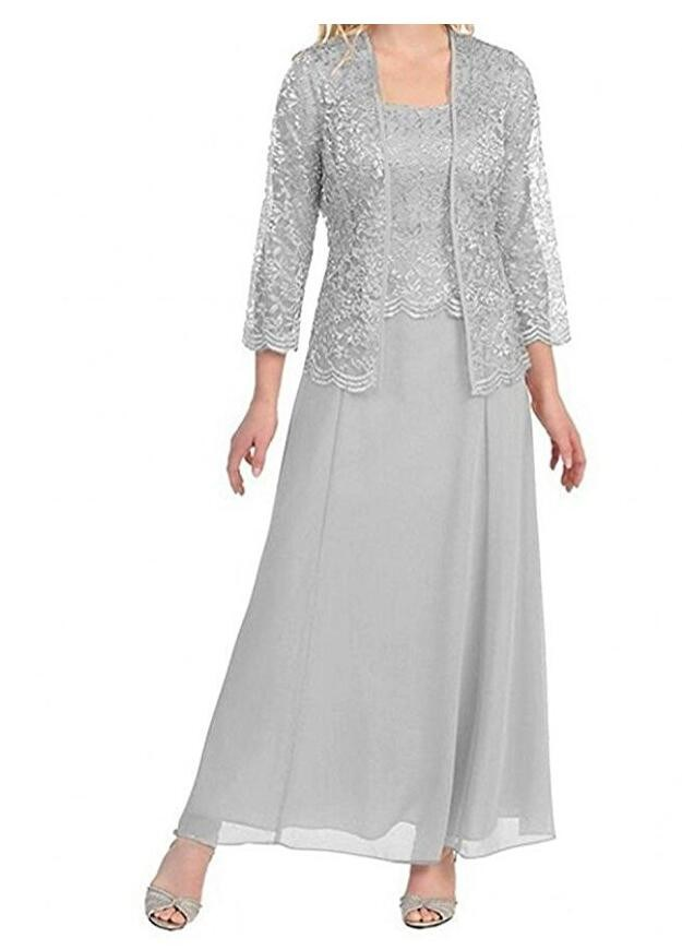 Tea Length Chiffon Champagne Mother Of Bride Dress With Lace Jacket Elegant Prom Dress Plus Size Party Dresses