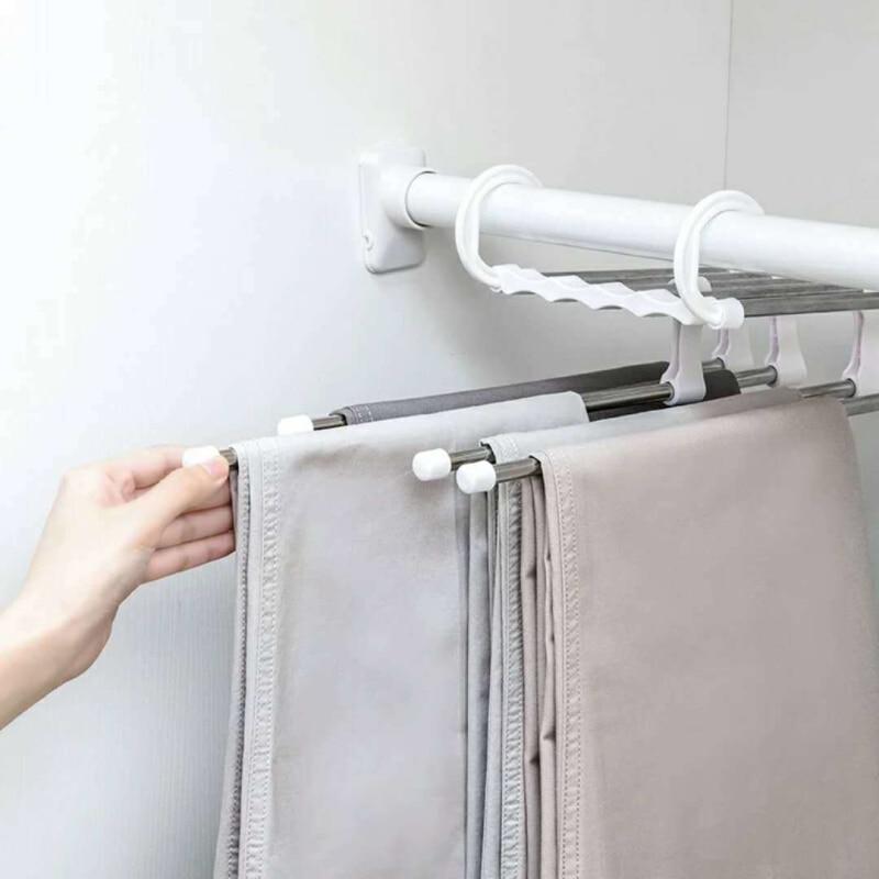ABS нержавеющая сталь вешалка для одежды стойка для хранения многофункциональная двойные крючки 5 ярусов Брюки Вешалка стойка органайзер для экономии места