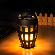 LED Flame Table Lamp Wireless Bluetooth Speaker Portable Stereo Speaker with Flickers Yellow Lights