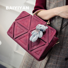 2017 New High Quality trigonometric geometry patchwork vintage handbag Bear Top-Handle Bags female messenger bag