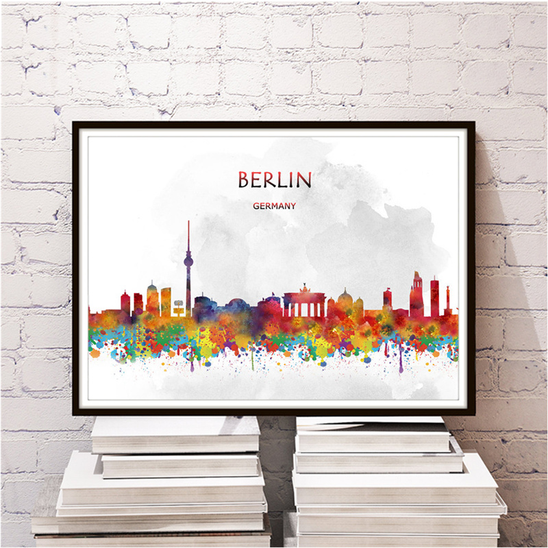 Klassische Stadt BERLIN Kraftpapier Wandaufkleber Home Wohnzimmer Schlafzimmer Cafe Retro Poster Drucken Malerei Freies Schiff