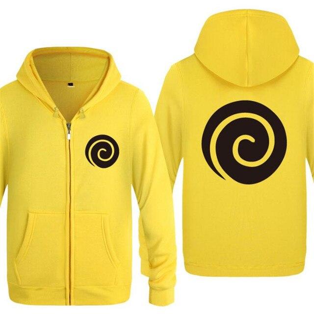 Hoodie Men Anime Naruto Uzumaki Clan Symbol Seal Icon Logo Zipper