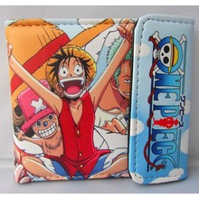 Hot Sale Anime One Piece Luffy/Chopper/Zoro etc PU Short Wallet/Colorful Button Purse