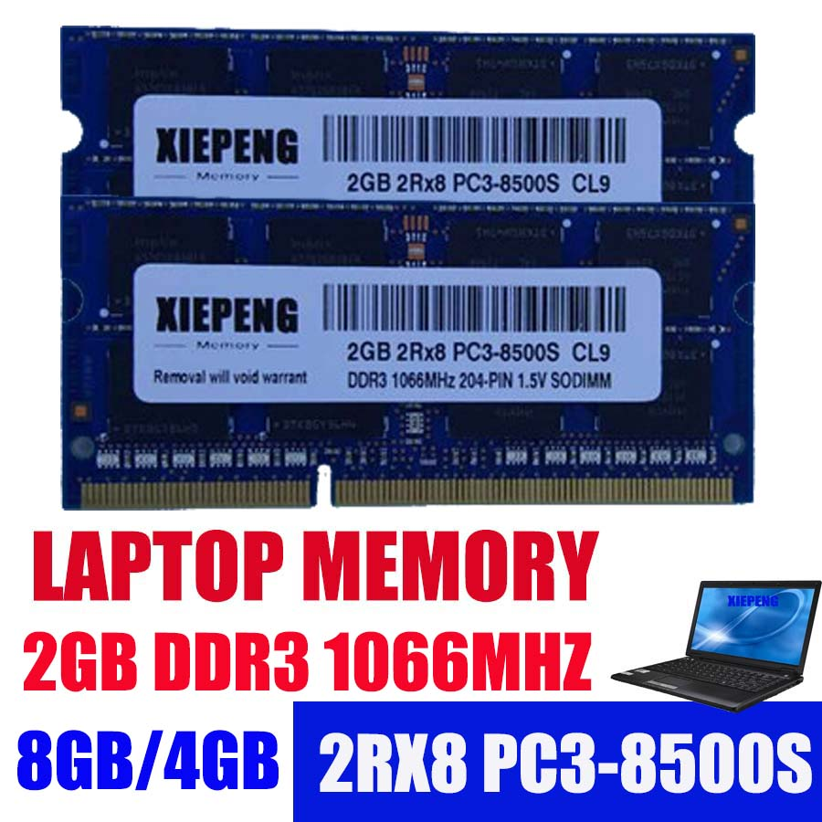 Laptop Memory 2GB 2Rx8 PC3-8500S <font><b>RAM</b></font> DDR3 4G 1066 MHz 8g pc3 8500 for <font><b>hp</b></font> CQ32 CQ41 CQ621 4311s 4321s 4410s 6540b Notebook SODIMM image