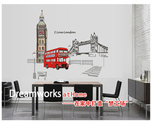 London Bus Scenery Home Family House Bedroom Living Room Decor Removable Wall Stickers Decals Decorations(China)