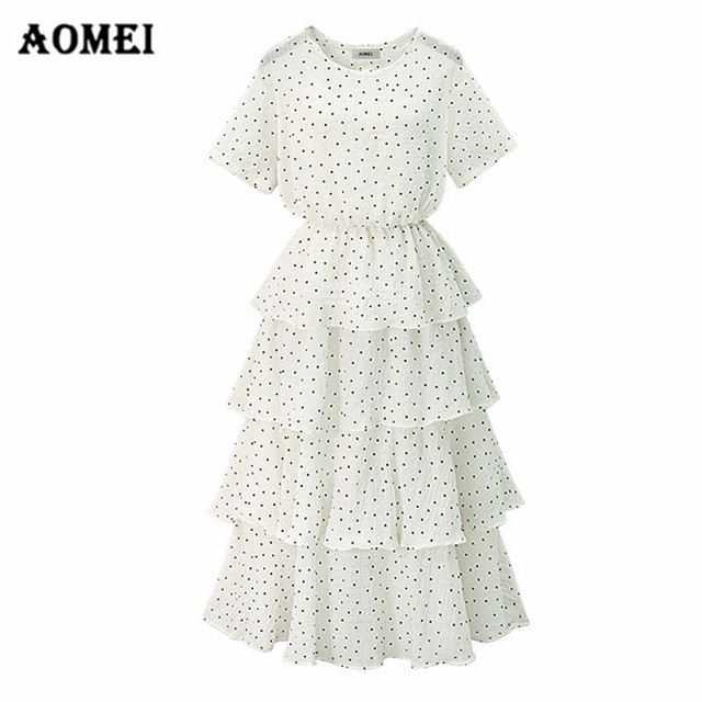 Women Dress Black Dot Long Cake Dress Summer High Waist Girls Lolita White  Chiffon Spliced Ruffles 5532b9c2ca36