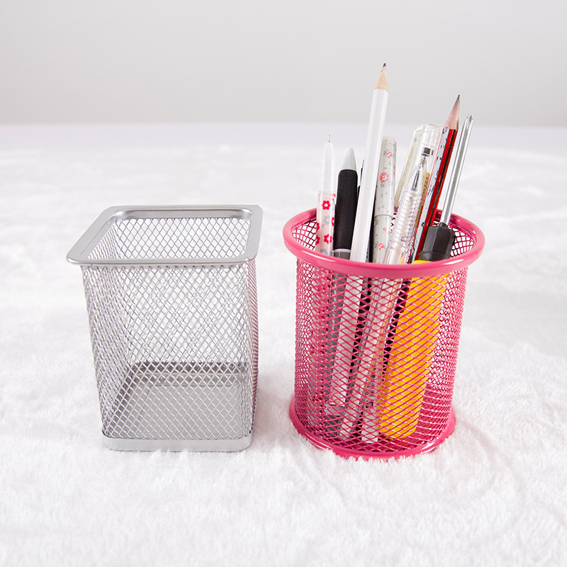 Office&school Supplies Metal Pen Holder Grid Pen Container Student Stationery Desk Accessories Organizer 01201 multifunctional candy color pen holder container desk organizer pen stand plastic stationery storage box office school supplies