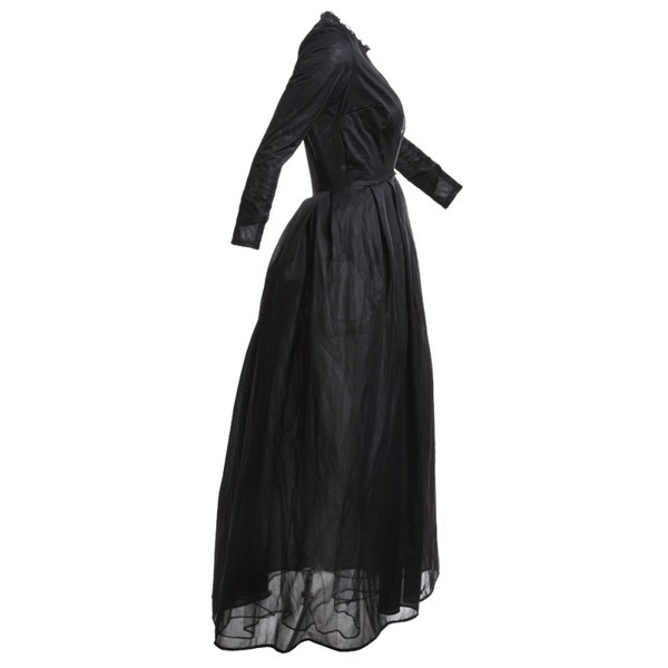 2017 New High Quality Sexy Gothic Lace High Waist Sheer Jacket Long Dress Gown Party Costume Lady Autumn Dress Black 2