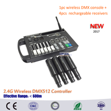 DHL Free shipping 1pc wireless 54ch dmx console and 4pcs Built in