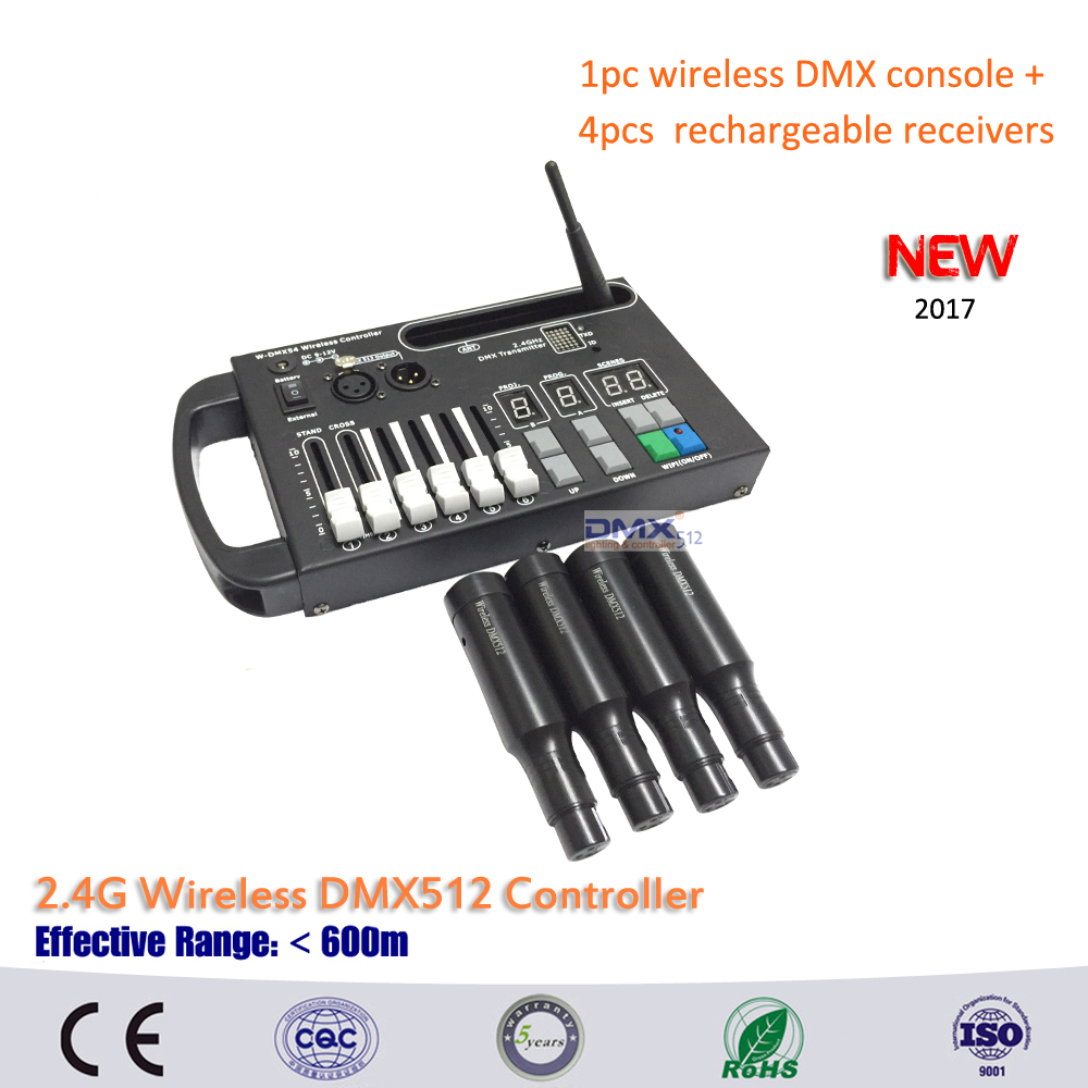 DHL Free shipping 1pc wireless 54ch dmx console and 4pcs Built in rechargeable battery wireless dmx receivers for moving stage.