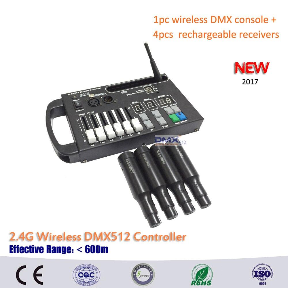 Dhl free grátis 1 pc 54ch sem fio dmx dmx console e 4 pcs construído em bateria recarregável sem fio receptores para estágio em movimento.