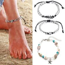 Multi-layer handmade anklet bracelet chain for women girls shell conch starfish beaded leg female summer beach jewelry