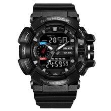 Smael Sport 2016 nouveaux hommes de montres à quartz montre hommes Numérique Résistant Aux Chocs Horloge Montres Militaire Extérieure LED Casual