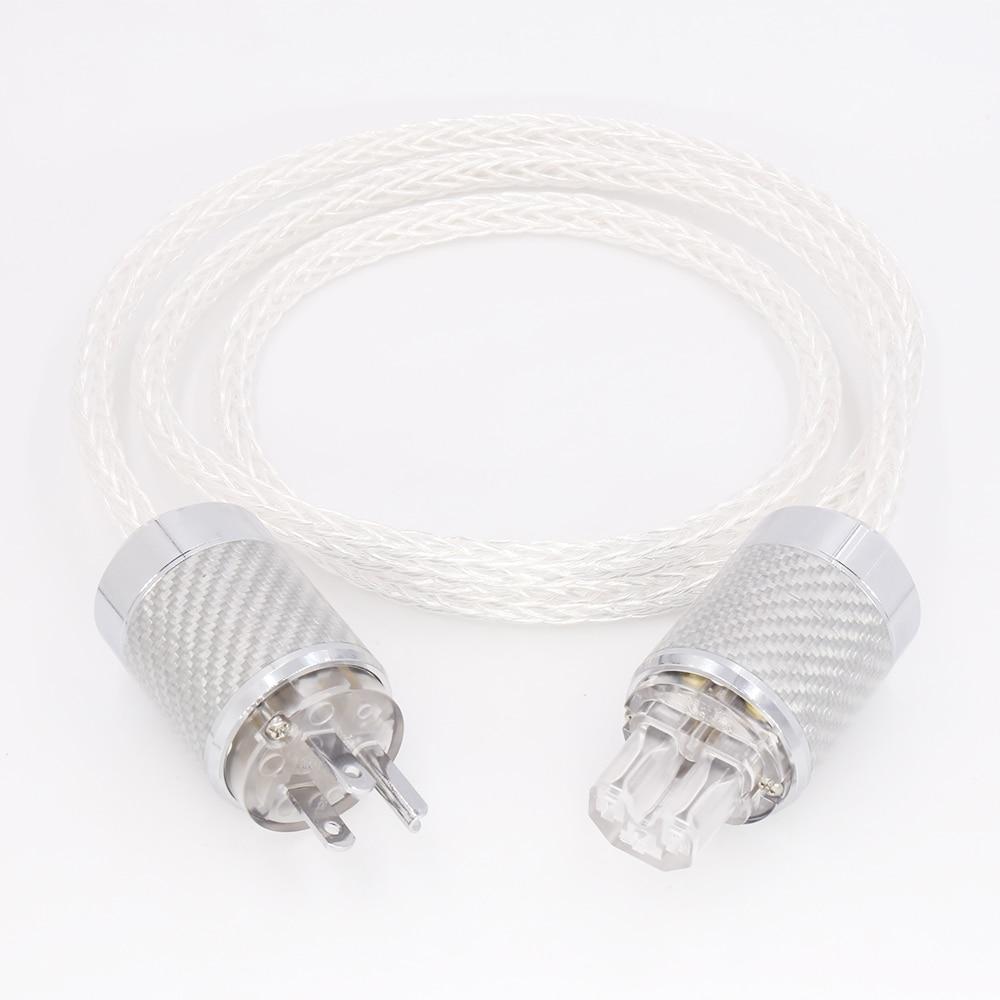 8AG 8core Twist Silver plated Power Cable Carbon fiber EU US Power cable amplifier spar parts