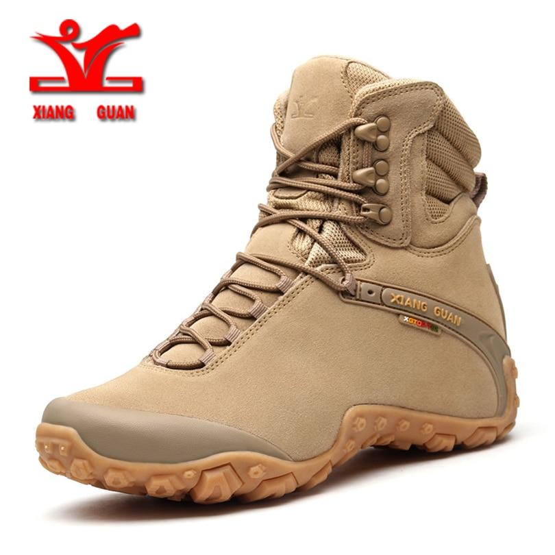 XIANGGUAN men's Sports Tactical Boots Outdoor High top Hiking Shoes Wear-Resistant Camping Sneakers Waterproof Women Footwear