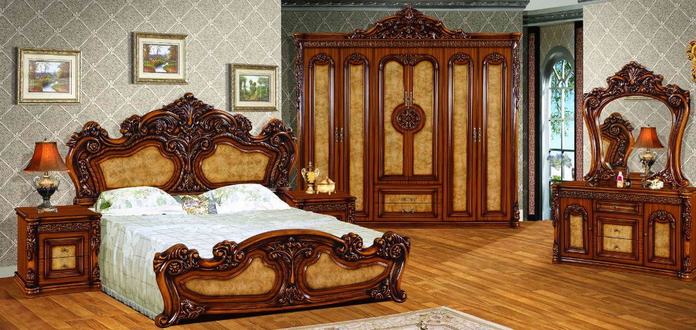 High Quality Royal Antique Bedroom Set Furniture Excellent