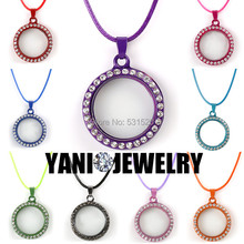 Wholesale 30mm Mixed 9colors Round Floating Locket Pendant Rhinestone Magnetic Glass Memory Locket with Free Chain