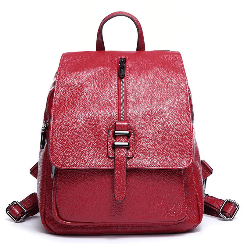 2019 Brand Design Women s Backpack Real Cowhide Leather Soft Ladies Bagpack Anti theft Large Travel