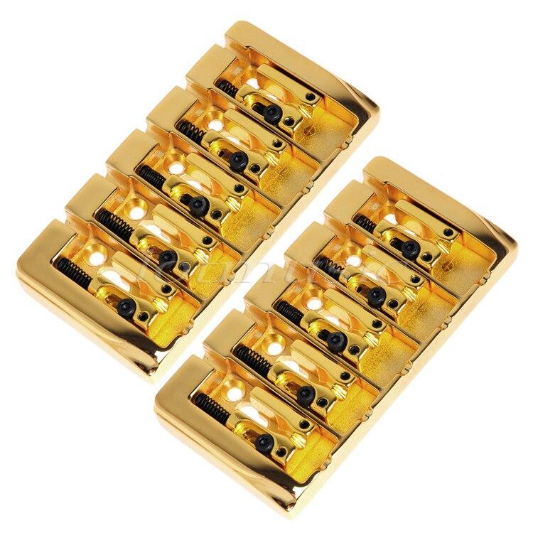 2 pièces 5 cordes pont carré selle plaqué or 19mm chaîne espace avec Srews Allen clé pour remplacement de guitare basse