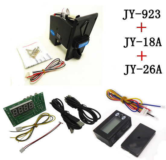 923+18A+26A coin operated USB time control device for cafe kiosk,multi coin selector acceptor with timer board counter