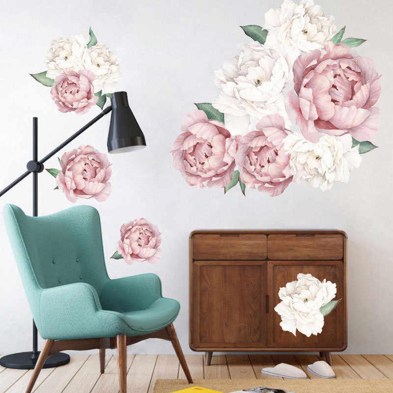 1 pcs 3d 모란 벽 스티커 로즈 모란 거실 침실 40*60 cm 룸 데칼 벽화 홈 장식 월페이퍼