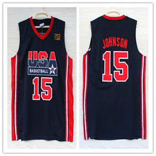 79a8aae83  13 Chris Mullin  15 Magic Johnson 1992 dream team usa Basketball Jersey  Embroidery Stitched